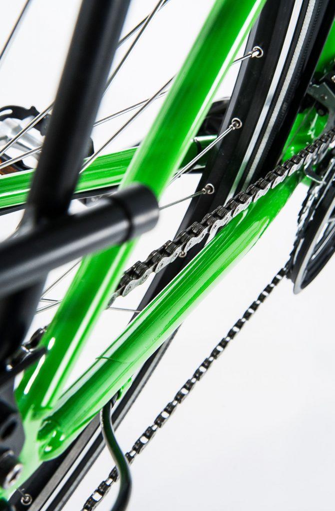 Raddesign Nahaufnahme Rad und Fahrradkette