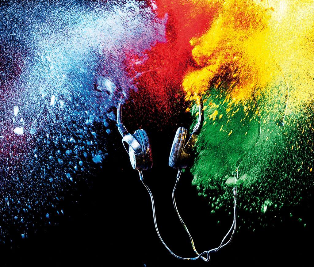 Kopfhörer Farbstaub Fotografie