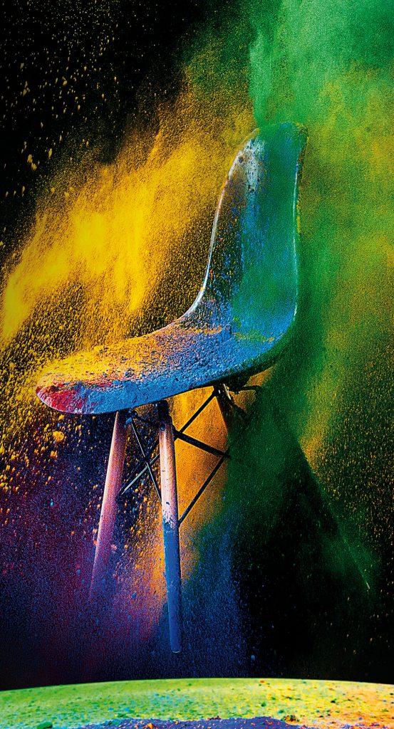 Farbpulver Stuhl Fotografie