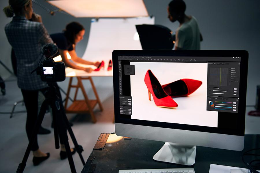 Rote Schuhe Studio Fotografie